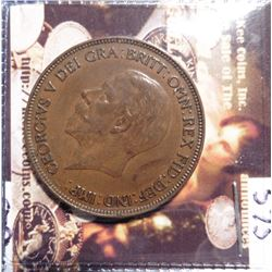 1929 Great Britain Large Penny. KM838. Brown Uncirculated. Quite Scarce. KM Value $18-55.00.