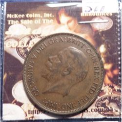 1934 Great Britain Large Penny. KM838. EF 40. Quite Scarce. KM Value $30.00.