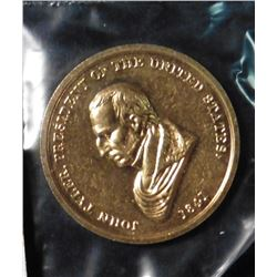 "Indian Peace Medal with bust of John Tyler, 1841. Gold-plated bronze. Reverse ""Peace and Friendship"""