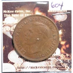 1950 Great Britain Large Penny. KM869. EF-40. KM $20.00