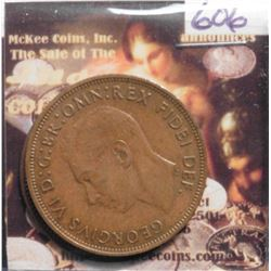 1951 Great Britain Large Pennies. EF KM869 & 1967 BU KM897. KM Value $40++.