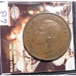 1950 Great Britain Large Penny. KM869. Brown Uncirculated. KM $85.00