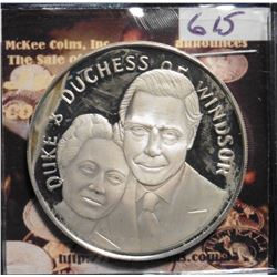 1987 Duke and Duchess of Windsor 50th Anniversary Silver Proof. St. George slaying the dragon, left