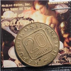 "1997 Austria 20 Schilling ""850th Anniversary of St. Stephen's Cathedral"". KM3041. Superb golden tone"