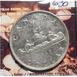 1952 With 3 Water lines Canada Silver Dollar. KM46. EF 46. KM value $22.00