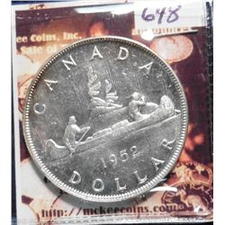 1952 Without Water lines Canada Silver Dollar. KM46. Gem BU. KM value $60.00