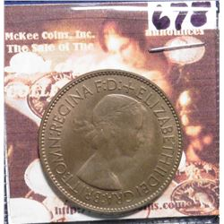 1953 Great Britain Large Penny. Brown Uncirculated. KM869. KM value $18.00.