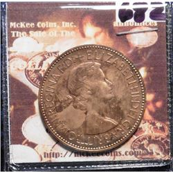 1953 Great Britain Large Penny. Brown Proof, lightly toned. Mtg. 40,000. KM883. KM value $25.00.