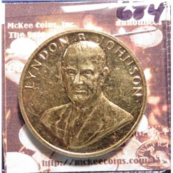1965 Lyndon B. Johnson U.S. Mint Gold-plated Bronze Inaugural Medal. Unc.