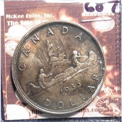 1935 Canada Silver Dollar. KM30. Brilliant Original Toned Unc. KM value $70.00