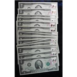 (20) $2 Federal Reserve Notes #1633. Series 1976 Cancelled .13c Stamps, April 13, 1976 in Ottumwa, I