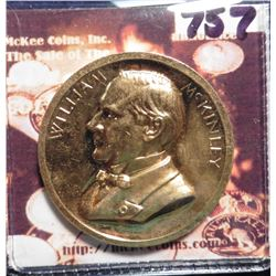 1901 William McKinley Memorial Death Medal. U.S. Mint issued Gold-plated Bronze. 34 mm. Unc.