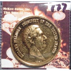 1850 U.S. Mint Indian Peace Medal depicts Millard Fillmore President and Indian negotiating on the r
