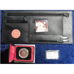 "Automobile totes Club leather zipper case with metal Pen and & Pencil set; ""Happy Retirement 1999"" O"