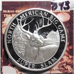 North American Big Game Super Slam. Whitetail Deer. Silver in appearance. 39 mm. Proof.