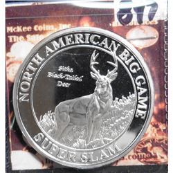 North American Big Game Super Slam. Sika Black tail Deer. Silver in appearance. 39 mm. Proof.
