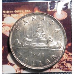 1937 Canada Silver Dollar. KM37. Brilliant Uncirculated. KM value $95.00.
