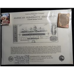Souvenir Sheet with Banknote Intaglio printed by the American Banknote Company for the American Numi