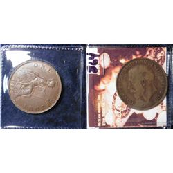 1918 H F-12 & 1922 EF Great Britain Large Pennies. KM value $38.00.