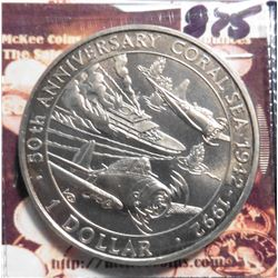 1992 Solomon Islands 50th Anniversary of Coral Sea. KM35. Dollar Commemorative. Prooflike.