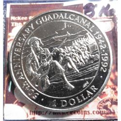 1992 Solomon Islands KM30. 50th Anniversary of Battle of Guadalcanal. Dollar Commemorative. Prooflik