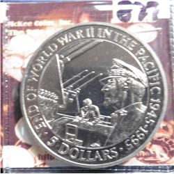 1995 Solomon Islands KM54. MacArthur accepting Japanese Surrender. Five Dollar Commemorative. Proofl