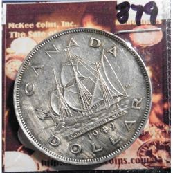 "1949 Canada Silver Dollar. VF 20 cleaned. ""The Matthew, John Cabot's ship. KM47. KM value $23.00."