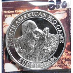 North American Big Game Super Slam. Big Horn Ram. Unmarked, Silver in appearance. 39 mm. Proof.
