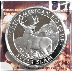 North American Big Game Super Slam. Mule Deer. Unmarked, Silver in appearance. 39 mm. Proof.