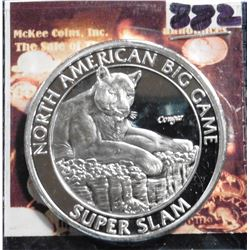 North American Big Game Super Slam. Cougar. Unmarked, Silver in appearance. 39 mm. Proof.
