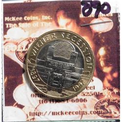 ND (1997) Austria 50 Schilling KM3044. Bi-Metallic Copper-nickel Clad Nickel Center in Aluminum Bron