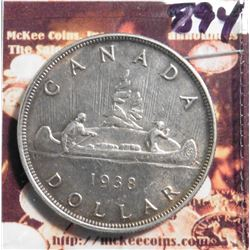 1938 Canada Silver Dollar. KM37. EF 40. KM value $70.00.
