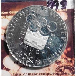 ND (1974) Innsbruck Austria 100 Schilling .6400 fine Silver Proof. Winter Olympics. KM2926. KM value