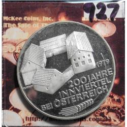 "1979 Austria 100 Schilling .6400 fine Silver ""200th Anniversary Inn District"", KM2943. Proof. KM val"
