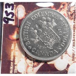 1871-1971 British Columbia, Canada Dollar. KM79. Prooflike.