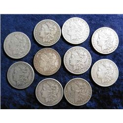 (10) Morgan Silver Dollars. All Pre 1902, including an 1890 CC. All VG to F-12.