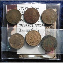 "1864 L (""L"" not visible) G-4, 1865 AG, 1874 AG, 1879 AG, 1893 EF, & 1902 AU Indian Head Cents.  Ex."