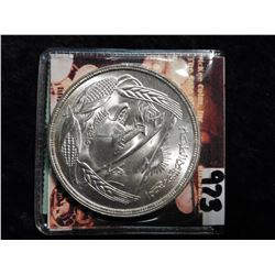 AH1393. (1973) Egypt One Pound. .7200 fine Silver. Gem BU. KM439. KM value $25.00.