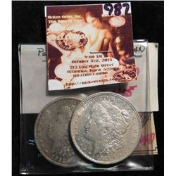 Pair of 1921 S Morgan Silver Dollars. EF 40.