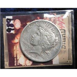 1921 P U.S. Peace Silver Dollar. F-12. Ex. Glenn Baird 1987 Coin Auction by McKee Coins, Inc.