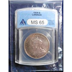 "1935 Canada Silver Dollar. ANACS certified and slabbed ""No. 2928441. MS 65"". Superb lovely original"