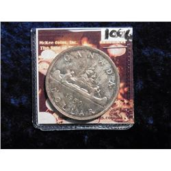 """1950 """"Voyageur"""" Canada Silver Dollar. Gem Original toned BU. There are four water lines on the left"""