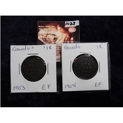 1903 & 1904 Canada Large Cents. Both grading EF.