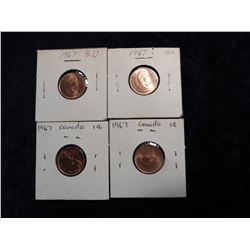 (4) 1967 Choice BU Canada Cents.