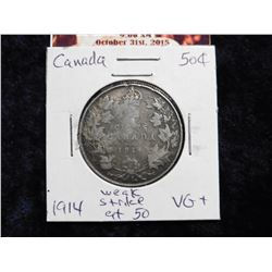 1914 Canada Half Dollar. VG+ but weak strike at 50.