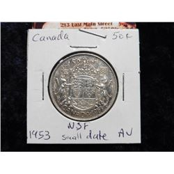 1953 No shoulder fold Canada Half Dollar. Small date variety. AU.