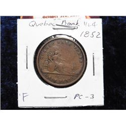 1852 Quebec Half Penny Token. VF. Charlton PC-3.