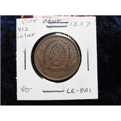 1837 City Bank Half Penny Token. VG. Charlton LC-8A1.