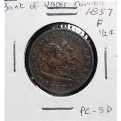 1857 Bank of Upper Canada Half Penny Token. F. Charlton PC-5D.