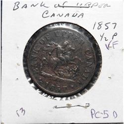 1857 Bank of Upper Canada Half Penny Token. VF. Charlton PC-5D.